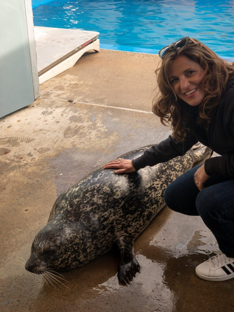 Theresa befriending a Harbor Seal